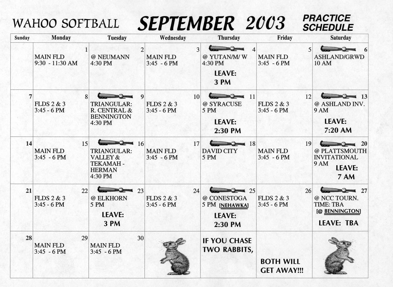 Wahoo Public Schools - Girls Softball Practice and Game Schedule