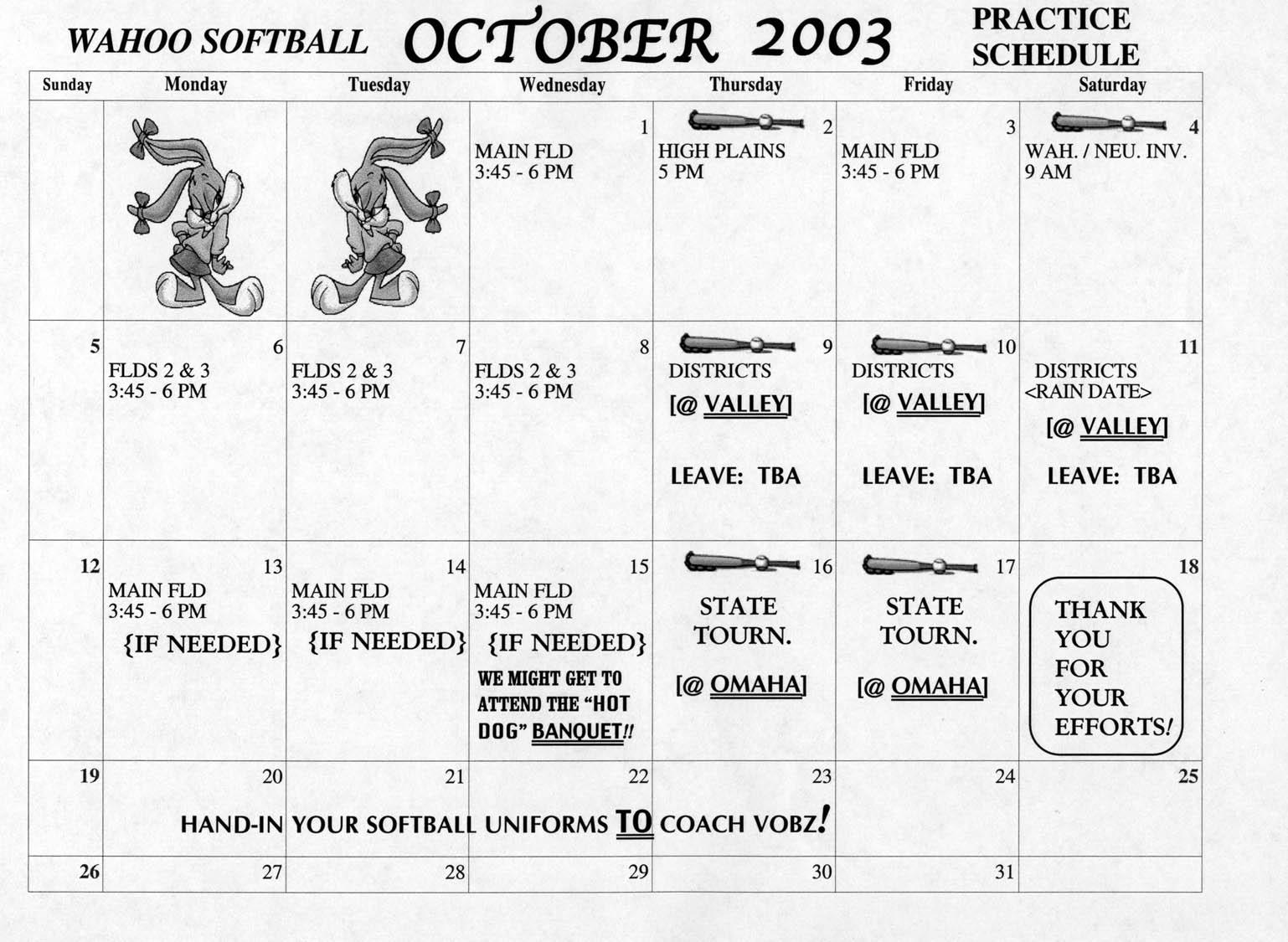 wahoo public schools girls softball practice and game schedule